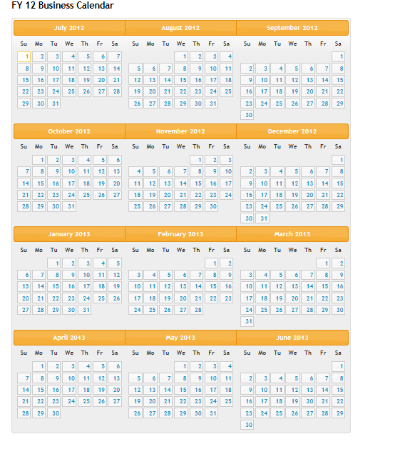 Calendar Design Using Jquery : Showing all months in an year using jquery ui fiscal